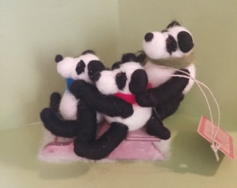 Perfectly Pandamonim Pandas Felted Wool Ornament - NEW for 2016