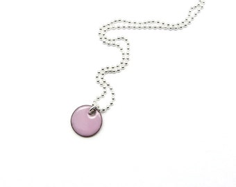 Small Pink Pendant - Pink Enamel Pendant Necklace - Tiny Charm Necklace with Delicate Sterling Silver Chain