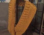Bulky Mustard Cowl Infinity Scarf thick texture