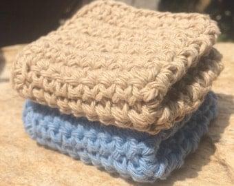 Set of two Crochet Dishcloth, Cotton Washcloth