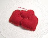Trio of Red Beaded Heart Valentines Decoration Valentine Ornament Wedding Decor Valentines Day Gift Valentines Decor Wool Felt Ornament 865