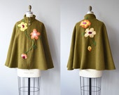 Limerick wool cape | vintage 1960s felted wool cape | crewel 60s short wool cape coat