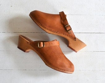 Rapallo wooden clogs | vintage 1970s clogs | leather 70s clogs size 10