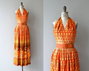 Prêt-À-Porte maxi dress | vintage 1970s maxi dress | 70s halter dress