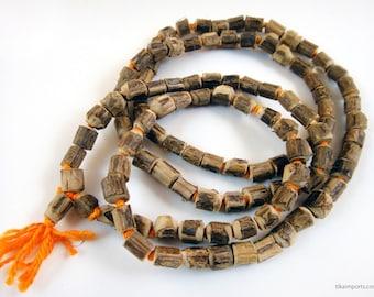 108 Bead Knotted Natural Tulsi Wood Mala