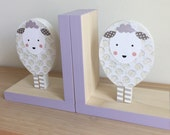 Lamb Bookends, Lamb Nursery,  Sheep Nursery, Lavender and Gray,  Purple, Kids Decor, Sheep Nursery Decor, Children's Bookends, Wood Bookends