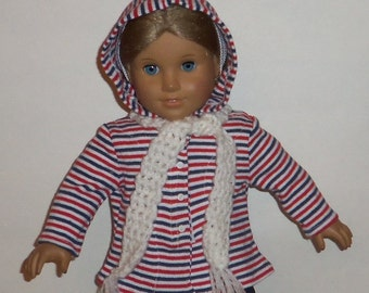 18 Inch Doll Hooded Sweater, Crochet Scarf, Striped, Red White Blue, American Made, Girl Doll Clothes, Winter Wear
