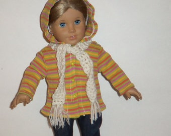18 Inch Doll, Hooded Sweater, Crochet Scarf, Striped Jacket,  American Made, Girl Doll Clothes, Winter Fall Wear