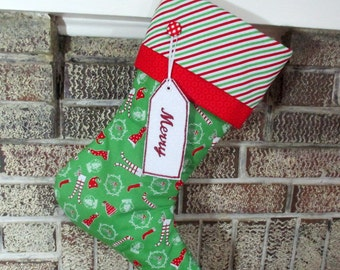 Monogrammed Christmas Stocking , Personalized Christmas Stocking , Green Stocking