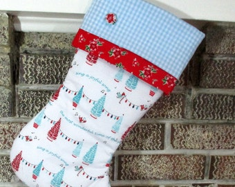 Personalized Traditional Christmas Stocking , White Blue And Red Stocking
