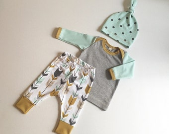 Newborn Baby Boy Coming Home Outfit, Boys Clothing, Pants Shirt with Matching Hat, Tribal, Arrows, Native - Premium Fabric