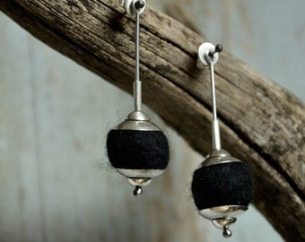 Silver Earrings Sterling Silver Modern earrings  hand crafted Felt and silver earrings dangle Earrings for Pierced ears