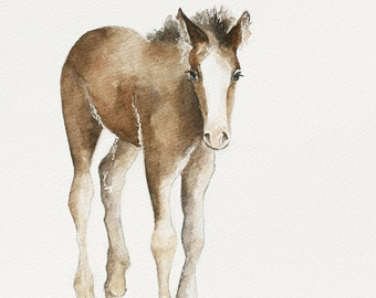 modern minimalist painting of horse painting horse PRINT western Home Decor western horse wall art for him Watercolor painting colt nursery