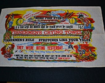 Vintage Fish Tales Towel Great Graphics