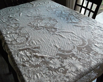 SALE:  Vintage Flowers in Lace Ivory Tablecloth