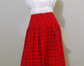 Vintage Skirt Full Swing Red with Navy 1980's