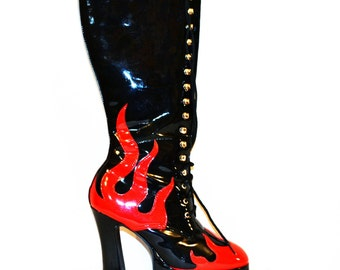 Vintage Boots Chunky Platform Flames