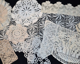 Vintage Natural and Ivory Cottage Doily Collection .........Ten Pieces