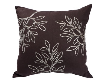 Leaves Pillow Cover, Decorative Pillow Cover,Throw Pillow Cover, Dark Brown Linen Beige Leaves, Embroidered, Couch Pillow, Pillow Accent
