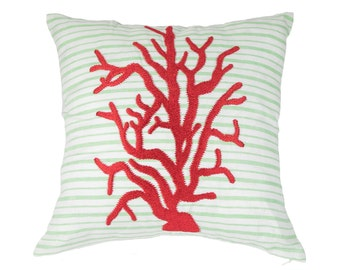 Coral Throw Pillow Cover, Decorative Pillow Cover, Green White Stripe Linen Pillow, Red Coral, Embroidered, Coastal Home Decor