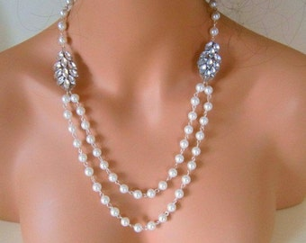 Art Deco pearl necklace 1920s style necklace Vintage style bridal necklace Downton Abbey wedding accessories