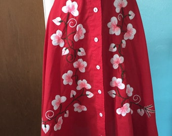 Cherry Blossom Season - 1970's Boho Cotton Embroidered Button Down Skirt