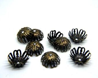 Filigree Bead-Cap Vintage Antique Bronze Bead Cap Wrap
