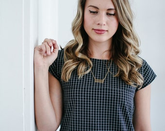 Plaid Short Sleeve Top, Black and White Checked Simple Cotton Shirt, Long Tunic, Kinfolk Inspired