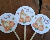 30 Preassembled Fall Favor Tags, Thanksgiving, Cupcake Toppers, Tags on Picks, Pumpkins, Fall Party