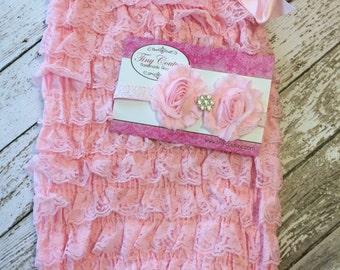 Ruffle Romper Headband set pink baby girl