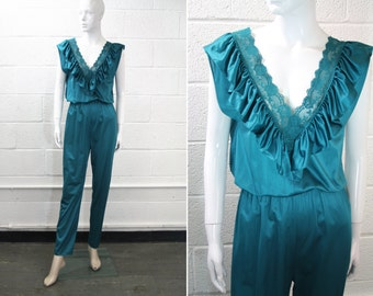 Teal Lingerie Jumpsuit Romper Nightgown