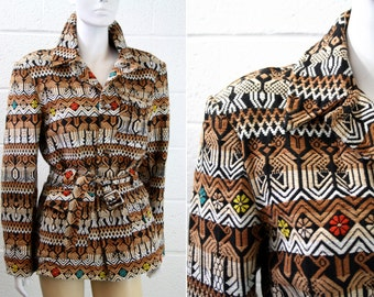 Mexican Style Tapestry Long Sleeve Cardigan Jacket Woman's Size Large/XL