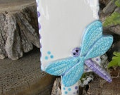 Fairy Garden Sign with Dragon Fly  Garden or Plant Sign - Ceramic Plant Stake
