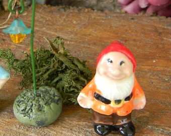 Garden Gnome -Tiny Fairy Garden  Sized - 1 inch tall Terrarium, container gardens and tea cup sized