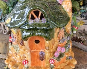 Fairy Garden Stone Cottage  TOAD House  Gnome Home OOak amanita mushrooms  roses, daisies, Gnome wind dangler Glazed
