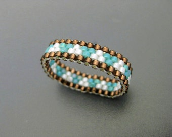 Sale / Clearance / Peyote Ring / Thin Beaded Ring / Seed Bead Ring in Turquoise and Brown / Size 6 Ring / Skinny Peyote Band / Delica Ring /