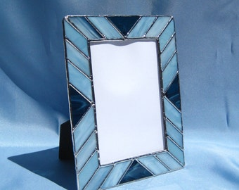 Stained Glass Picture Frame Shades of Blue Frame 5 x 7 Stained Glass Frame 5 x 7 Blue Frame Portrait Frame Landscape Frame Glass Frame