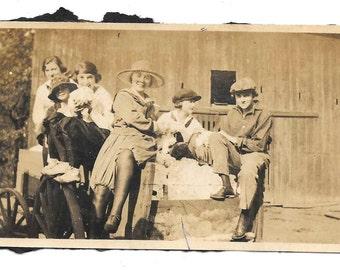 vintage photo Leggy Woman in Farm Wagon 1918 snapshot photo