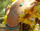 CLEARANCE SALE Hand Chain Bracelet  Piece Hipster Silver Chain Boho Bohemian One Turquoise Bead Two Strand Hand Jewelry