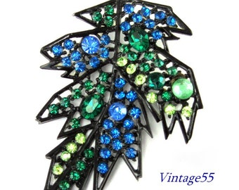 Brooch Blue Rhinestone Fall Leaf