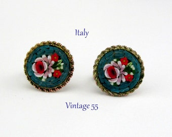 Earrings Mosaic Italy Turquoise Floral