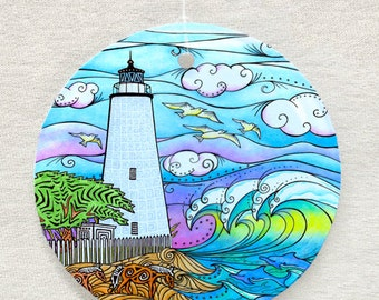 Ocracoke Waves Lighthouse Ornament and Suncatcher
