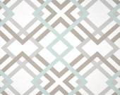 "Pair of Curtain Panels, Winston Snowy Prints, Geometric Squares - Pale Mist Blue, Taupe, Gray, white - 25"" or 50"" wide, Choose length"