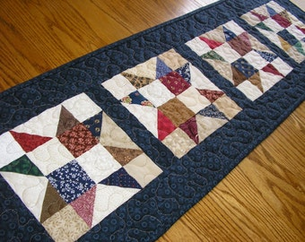 Quilted Table Runner, Patchwork Star Runner with a Dark Blue/Navy Border, 12 1/2 x 39 1/2 inches