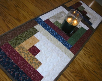 Quilted Table Runner, Log Cabin Scrappy  14 x 40 inches