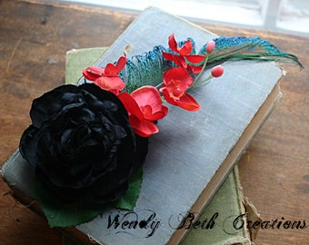 Black Rose with Red Orchids Hair Clip Fascinator - ATS, Tribal Fusion, Belly Dance
