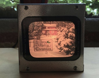 "AD ""MERRY CHRISTMAS"" - Vintage magic lantern glass slide light box"