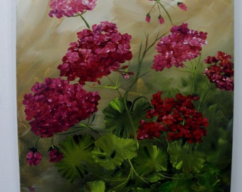 Canvas oil painting 16 x 20 Geraniums Red