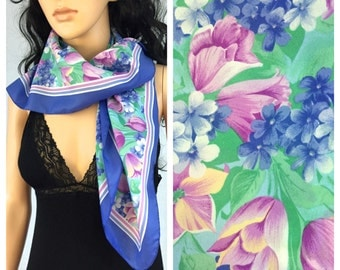 Vintage Pink and Purple Tulip Scarf. Blue. Green Leaves. Accessories. 1980s. Cingia Fioui for Tie Rack. Under 20 Scarves.