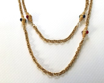 Vintage Double Layer Chain Necklace. Goldtone. Gold. Glass Cabochons. Red. Blue. Purple. Green. Statement Jewelry. Under 25.